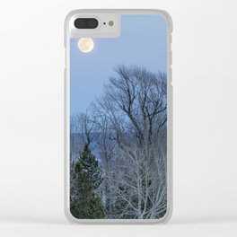 Full Moon Over Trees At Dusk Clear iPhone Case