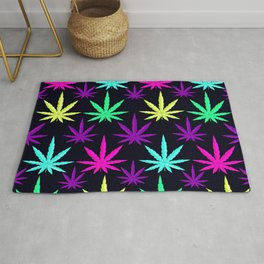 Colorful Marijuana Weed cool tone Rug