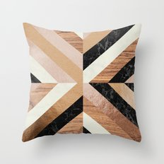 Copper Marble Wood Throw Pillow