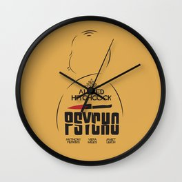 Psycho, Alfred Hitchcock, minimal movie poster, classic horror film, american cinema, thriller Wall Clock