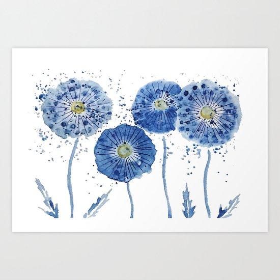 four blue dandelions watercolor Art Print