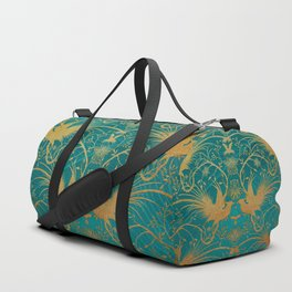 """Turquoise and Gold Paradise Birds"" Duffle Bag"