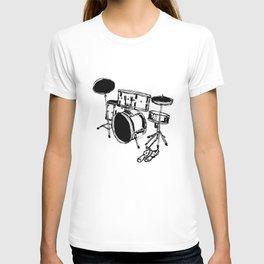 Drum Kit Rock Black White T-shirt