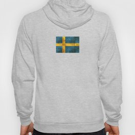Vintage Aged and Scratched Swedish Flag Hoody