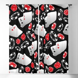 Cards, Dice and Casino Chips on Black Blackout Curtain