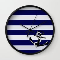 nautical Wall Clocks featuring Nautical by Kristi Kaz