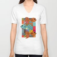 mid century modern V-neck T-shirts featuring One Fish, Two Fish, Orange Fish, Blue Fish - on Mid Century Modern Background by Taken Literally