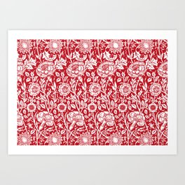 "William Morris Floral Pattern | ""Pink and Rose"" in Red and White Art Print"