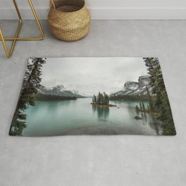 Landscape Photography | Spirit Island | Maligne Lake | Jasper Alberta | Emerald Water | Wall Art Rug