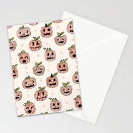 Pumpkin halloween jack-o'-lantern fall autumn carving cute pattern Stationery Cards
