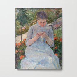 Mary Cassatt - Girl in the Garden Metal Print