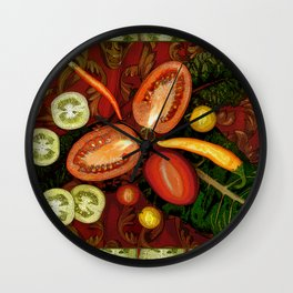 Tomatoes and Chard Wall Clock