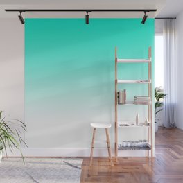 Modern bright simple mint green white color ombre gradient Wall Mural