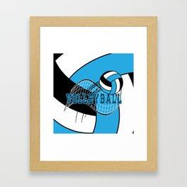 Volleyball Sport Game - Net - Baby Blue Framed Art Print