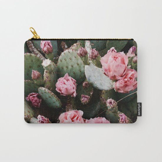 PINK CACTUS FLOWER ABSTRACT CLUSTER PATTERN Carry-All Pouch