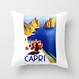 1952 Capri Italy Travel Poster Throw Pillow