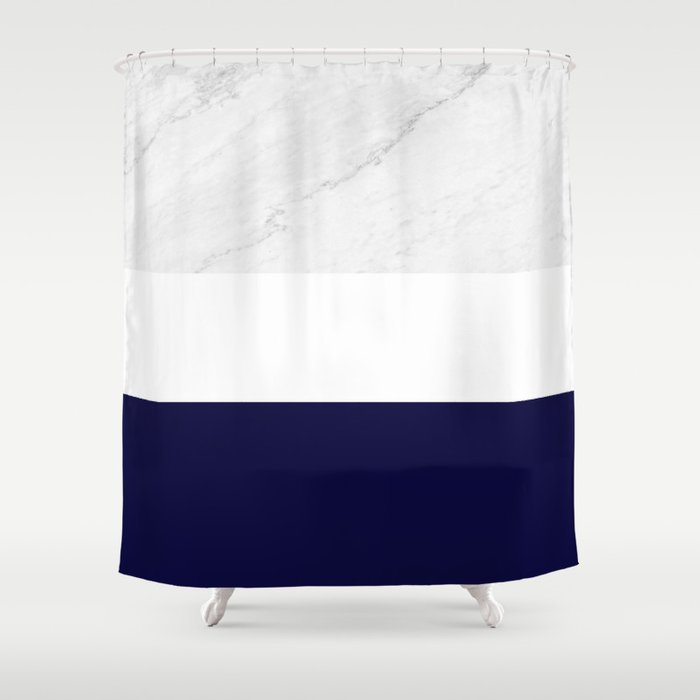 Marble White Royal Blue Shower Curtain