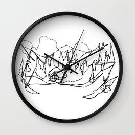 Cozy Winter Cabin :: Single Line Wall Clock