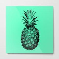 Pineapple! Black on mint green Metal Print
