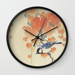 Bird on Paulownia Branch Wall Clock