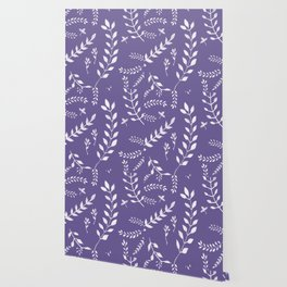 Ultra Violet Leaves Pattern #2 #drawing #decor #art #society6 Wallpaper