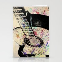 guitar Stationery Cards featuring Guitar by Del Vecchio Art by Aureo Del Vecchio