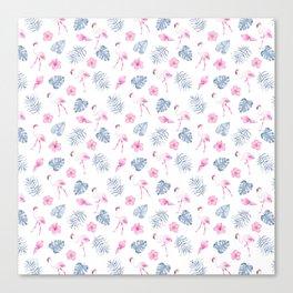 Modern watercolor blue pink tropical flamingo floral Canvas Print