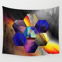 hexagon Wall Tapestries featuring hexagon II by donphil
