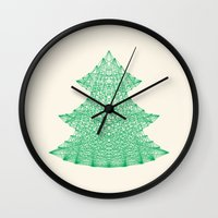 merry christmas Wall Clocks featuring Merry Christmas by Fimbis