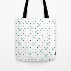 Pin Point Hearts Mint Tote Bag