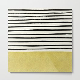 Gold x Stripes Metal Print