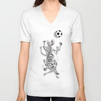 football V-neck T-shirts featuring Zebra Football by mailboxdisco