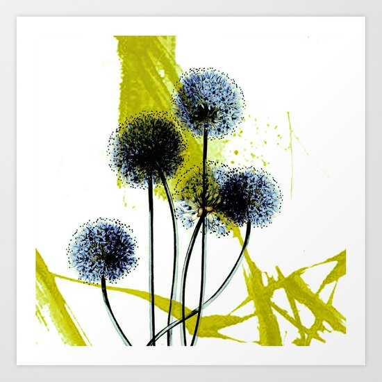blue dandelion on abstract background Art Print