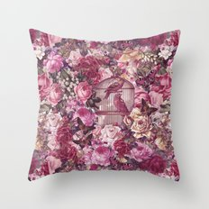 Vintage Bird Cage Flower Pattern Retro Illustration Throw Pillow