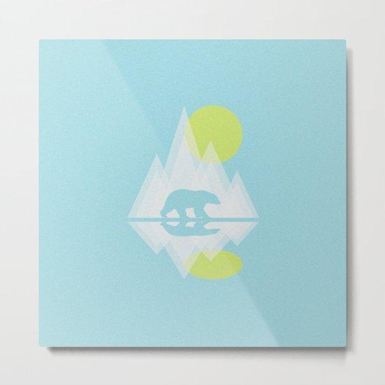 Polar Bear Abstract icecap Landscape Surrealism Art Metal Print