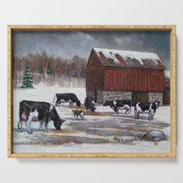 Holstein Dairy Cows in Snowy Barnyard; Winter Farm Scene No. 2 Serving Tray
