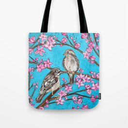 Spring Sparrows and Cherry Blossoms Tote Bag