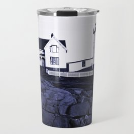 Navy Blue Maine Lighthouse Travel Mug