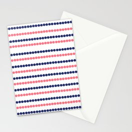 Modern nautical blue coral polka dots stripes pattern Stationery Cards