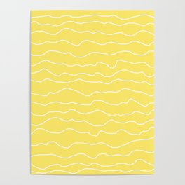 Yellow with White Squiggly Lines Poster