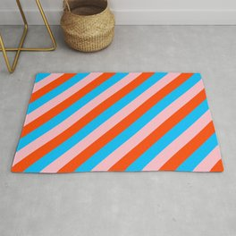 Deep Sky Blue, Pink, and Red Colored Stripes Pattern Rug