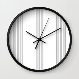 Farmhouse Ticking Stripes in Gray on White Wall Clock