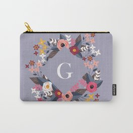 Floral Purple Monogram G Carry-All Pouch