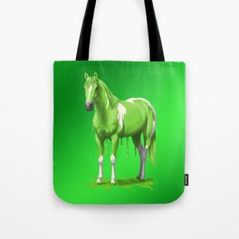 Neon Green Wet Paint Horse Tote Bag