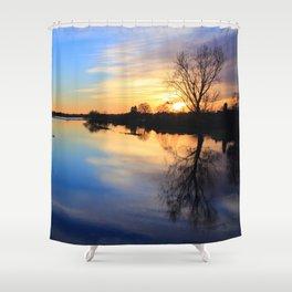 Floodplain at Sunset 1 Shower Curtain