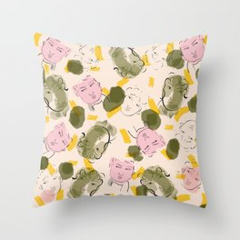 Faces in the Daffodil Field Throw Pillow