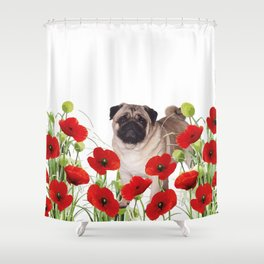 Pug - Poppies Field Shower Curtain