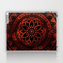 Burnt Orange & Black Patterned Flower Mandala Laptop & iPad Skin