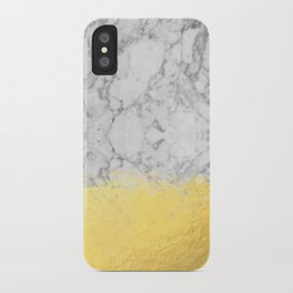 Marble with Brushed Gold - Gold foil, gold, marble, black and white, trendy, luxe, gold phone iPhone Case