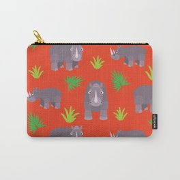 Happy hippo red background Carry-All Pouch